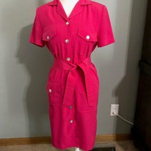 Sag Harbor Vintage Button Down Pink Dress Size 8